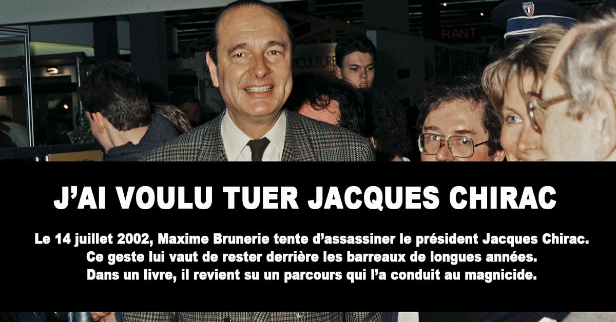 Comment en arrive-t-on à vouloir assassiner un président de la République ? Maxime Brunerie a voulu tuer Jacques Chirac lors du défilé du 14 juillet 2002. Cette tentative n'avait aucune chance de réussir et lui a valu une longue condamnation. Aujourd'hui, dans un livre document, il dévoile le parcours qui l'a conduit à ce geste spectaculaire.